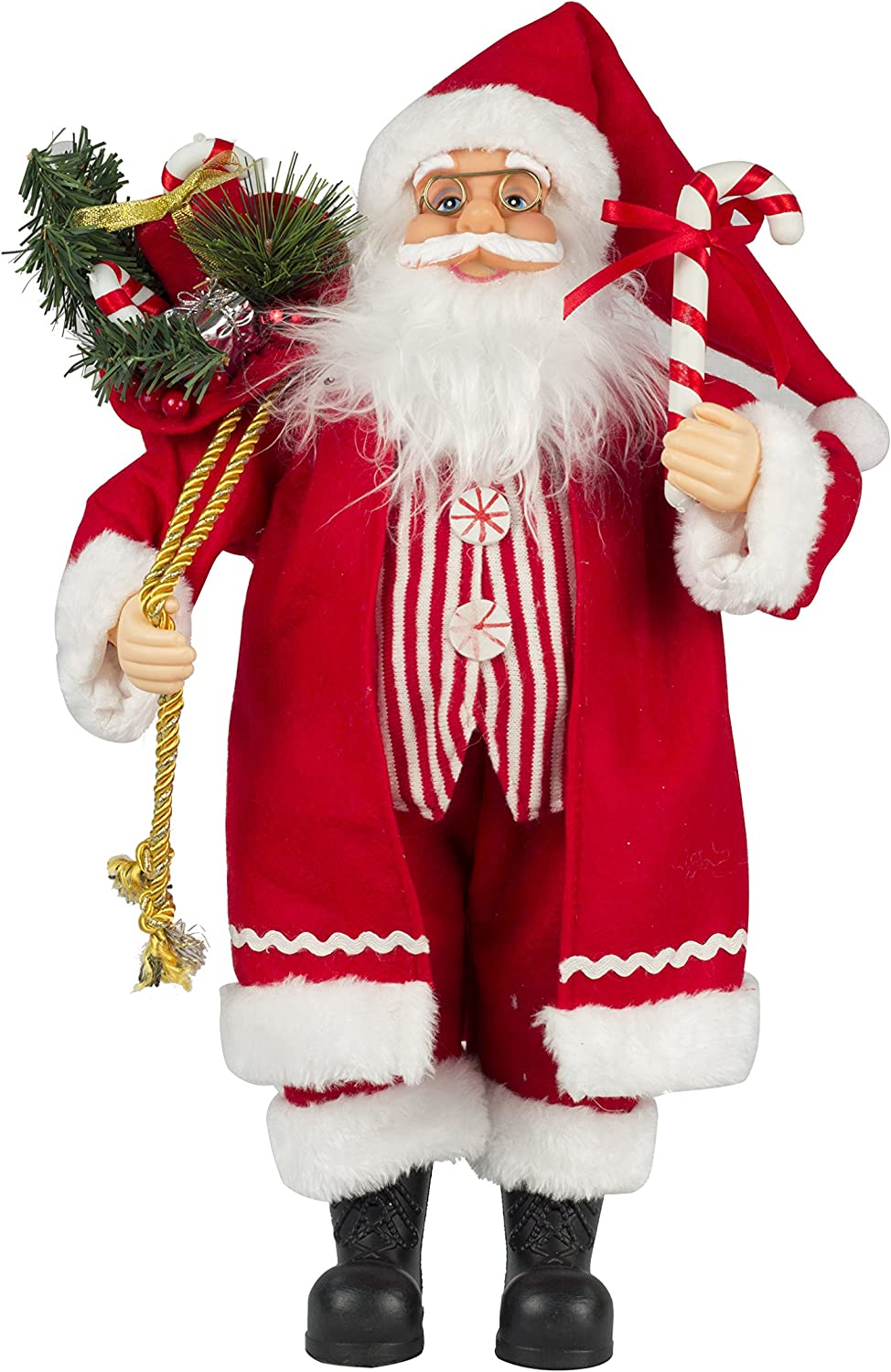 """Queens of Christmas Decorative Claus Figurine Santa, 18"""", Red and White"""