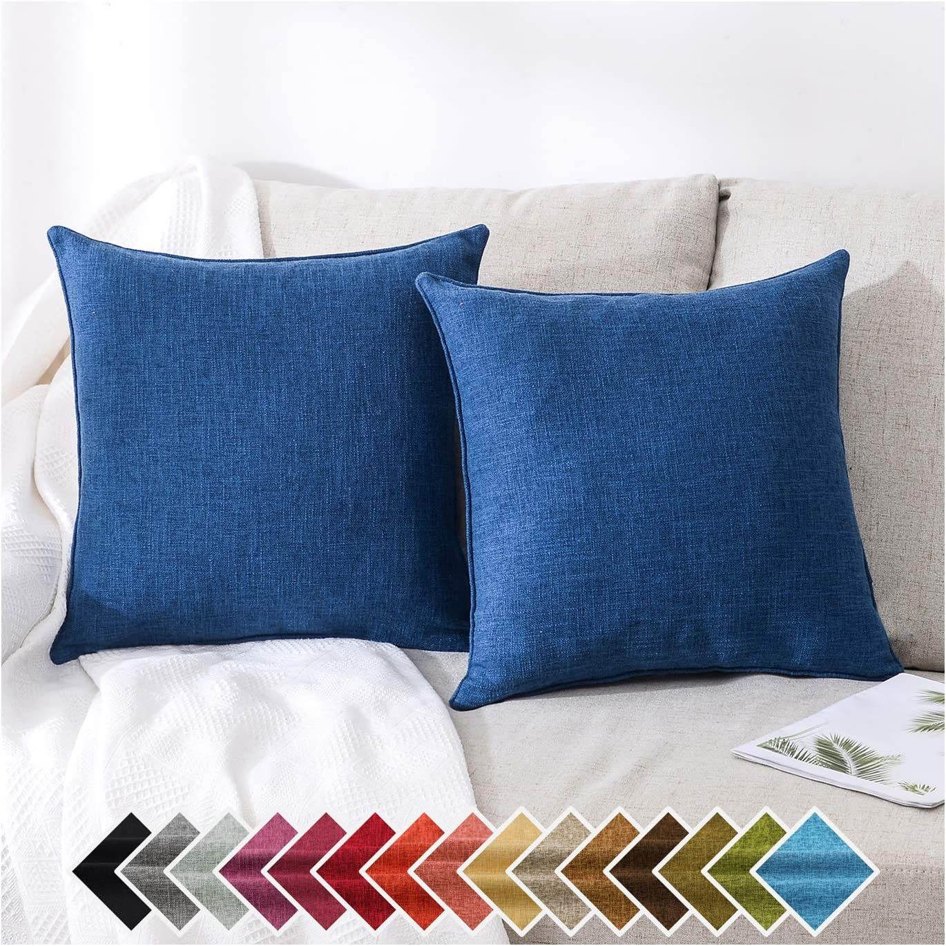 HPUK Pack of 2, Decorative Pillow Cover, Solid Color Pillowcase for Couch, Sofa, Bedroom, Car, Office, Holiday Decor,17x17 inch, Navy