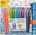 Paper Mate Flair Felt Tip Pens, Medium Point, Limited Edition Tropical & Assorted Colors, 12-Count