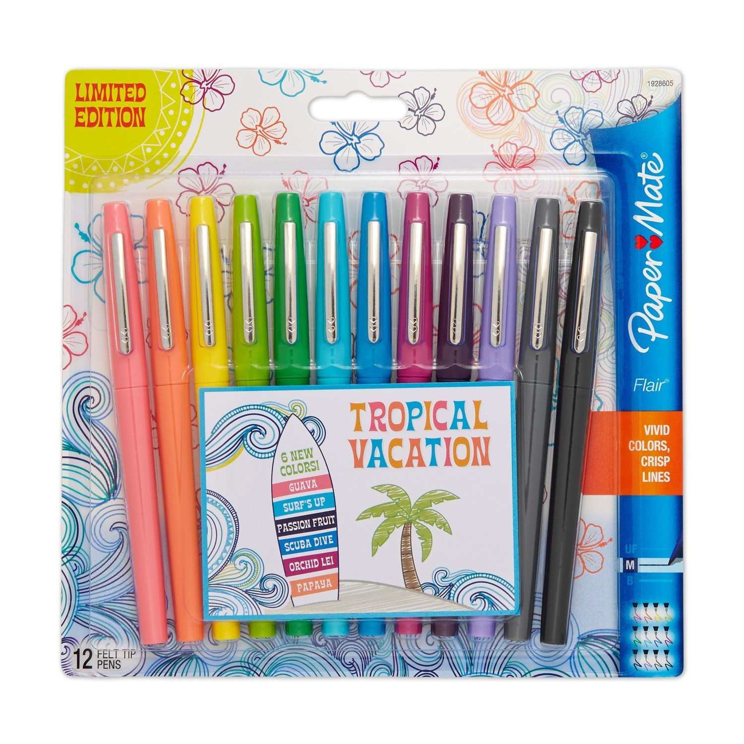 Best crafts for 8 yr old girl - Paper Mate Flair Felt Tip Pens Medium Point Limited Edition Tropical Assorted Colors
