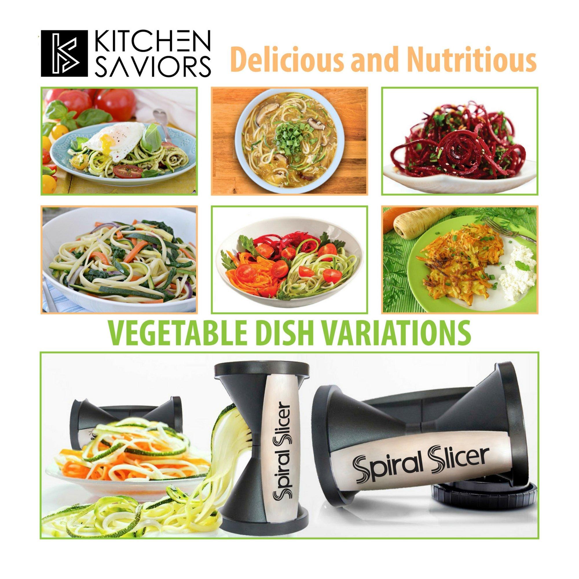 Spiral Slicer Vegetable Zoodle Spiralizer - Veggie Noodle Maker Pasta Cutter - With Kitchen Peeler Bundle by Kitchen Saviors (Image #6)