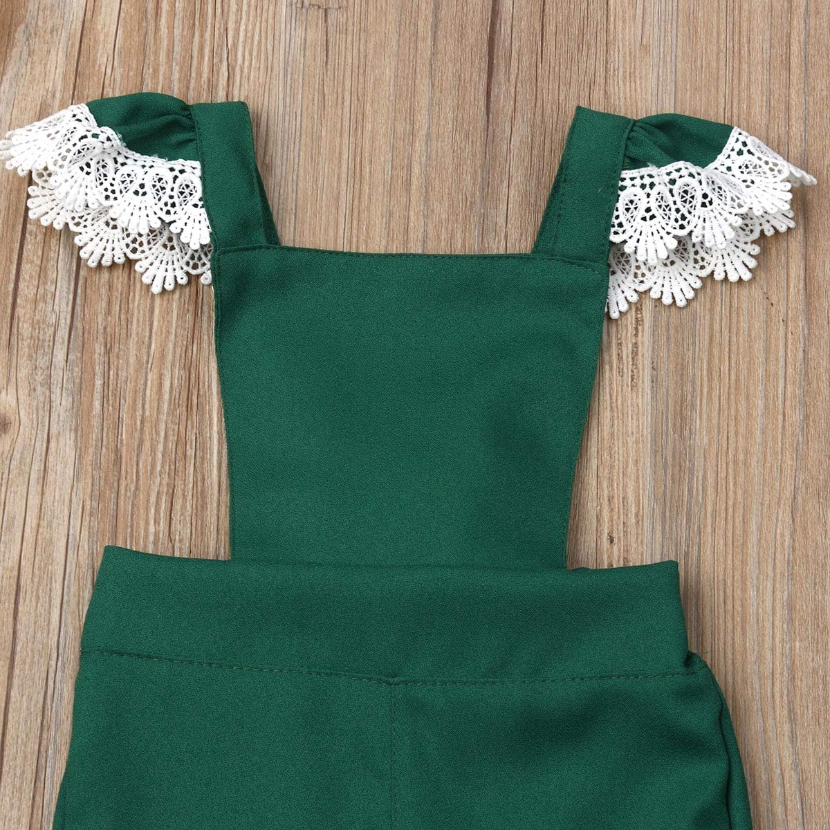 Baby Girl Strap Suspender Jumpsuit Trousers Bell Bottom Pants Overalls High Waist Lace Shoulder Strap Pants