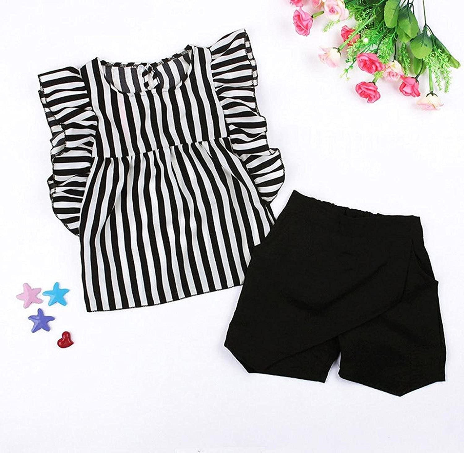 Malloom/® Baby Outfit Set Toddler Kids Baby Girls Clothes Striped T-Shirt Tops+Shorts Pants