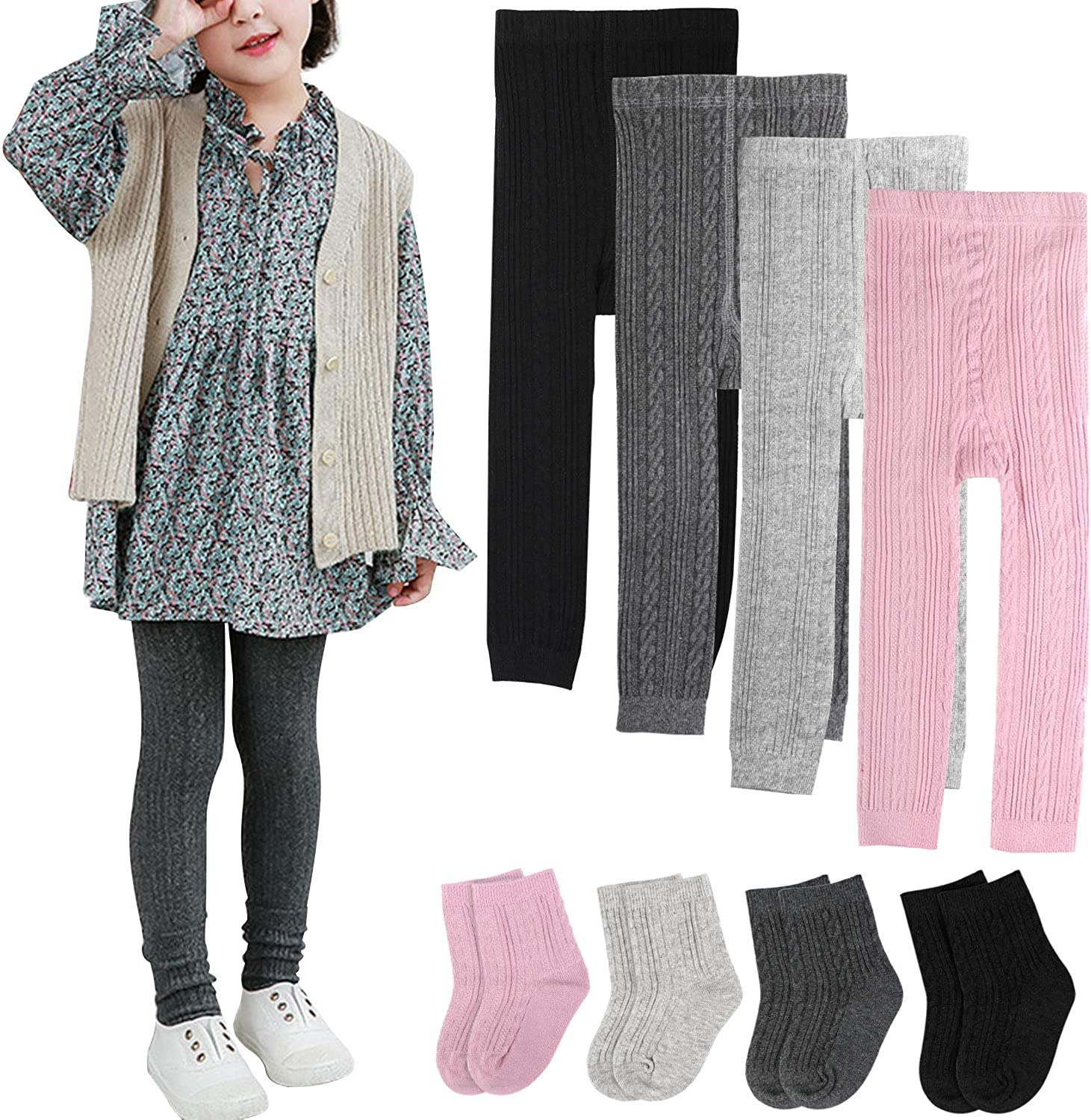 BOOPH 4 Pairs Girls Leggings Pants Sock Set Footless Knits Tights Stockings: Clothing