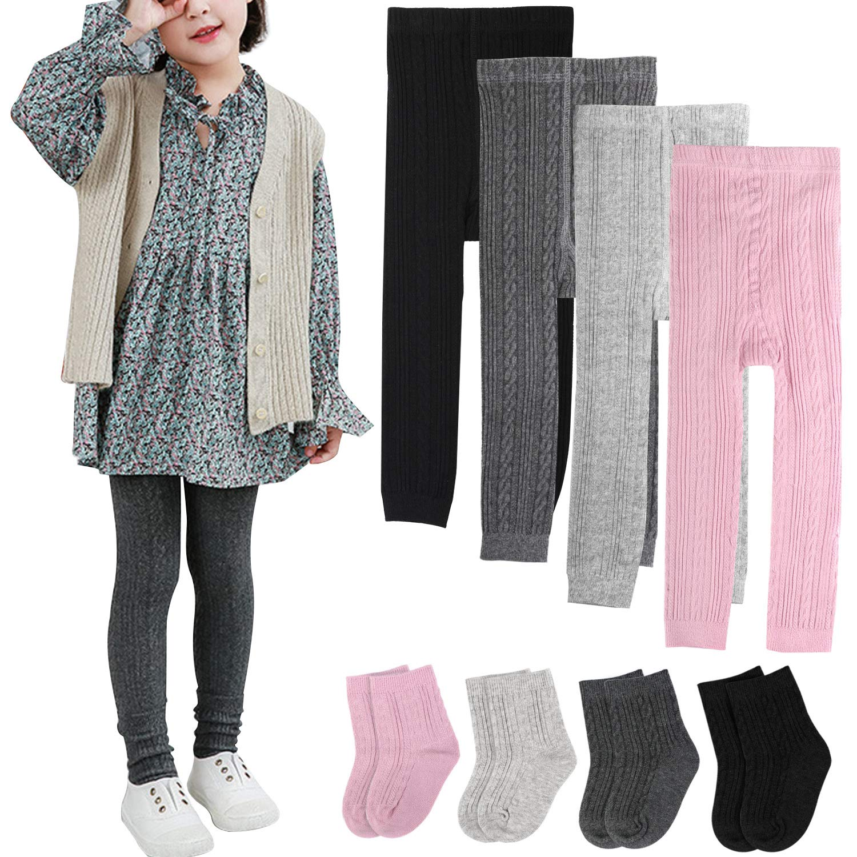 BOOPH Girls Leggings Pants Sock Set Toddler Footless Tights 5-6 Years Multicolor by BOOPH