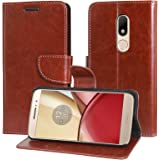 DMG Motorola Moto M Flip Cover, Sturdy PU Leather Wallet Book Cover Case for Motorola Moto M (Brown)