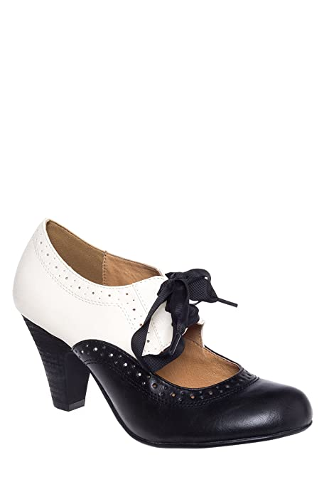 Chelsea Crew Sylvia Vintage Mid-heel Two Tone Oxford Pump W/ribbon Lace Ties  AT vintagedancer.com