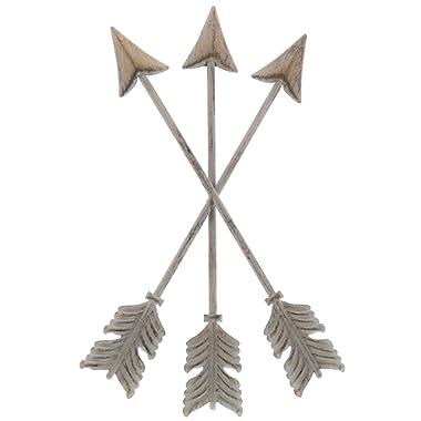 "Barnyard Designs Metal Arrow Wall Decor, Rustic Native American Wall Art Arrows 13"" x 8.25"""