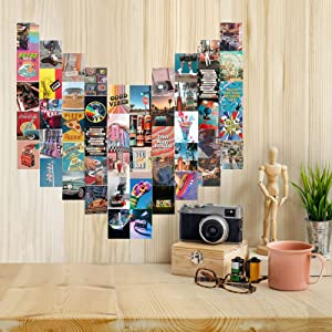 KAJUSEV 50PCS Retro 80S Wall Collage Kit Aesthetic Pictures,Wall Decor for Bedroom Aesthetic,Dorm or Vintage Room Decor,Room Decor for Bedroom Aesthetic Teens(4x6 inch)