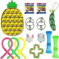 Sensory Fidget Toys Set 14pcs,Stress Relief Kits for Kids Adults/Push Pop Bubble /Flippy Chain/Soybean Squeeze/Stretchy…