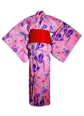 myKimono Women s Traditional Japanese Kimono Robe Yukata with Obi Belt    Koshi-himo thin belt 6cbf0b24a096