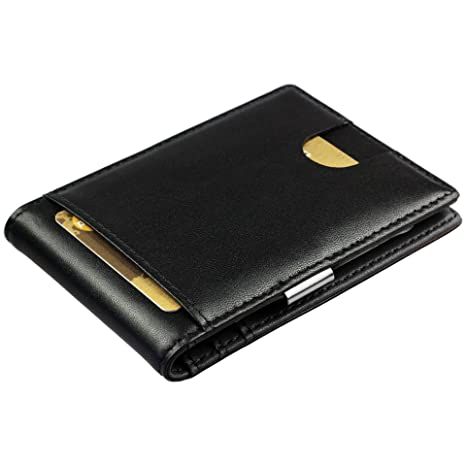 bajo precio 09a9e 7e1e5 Cartera de Hombre con Pinza para Billetes - Billetera pequeña de Piel  auténtica, Tarjetero con protección RFID, Regalos para Hombres, Color Negro
