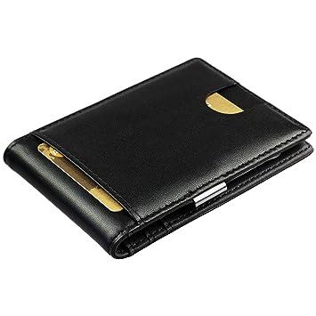 be1e8e6ff Cartera de Hombre con Pinza para Billetes - Billetera pequeña de Piel  auténtica, Tarjetero con protección RFID, Regalos para Hombres, Color  Negro: ...