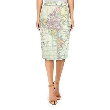 Amazon Com Antique World Map 1913 Midi Pencil Skirt Clothing
