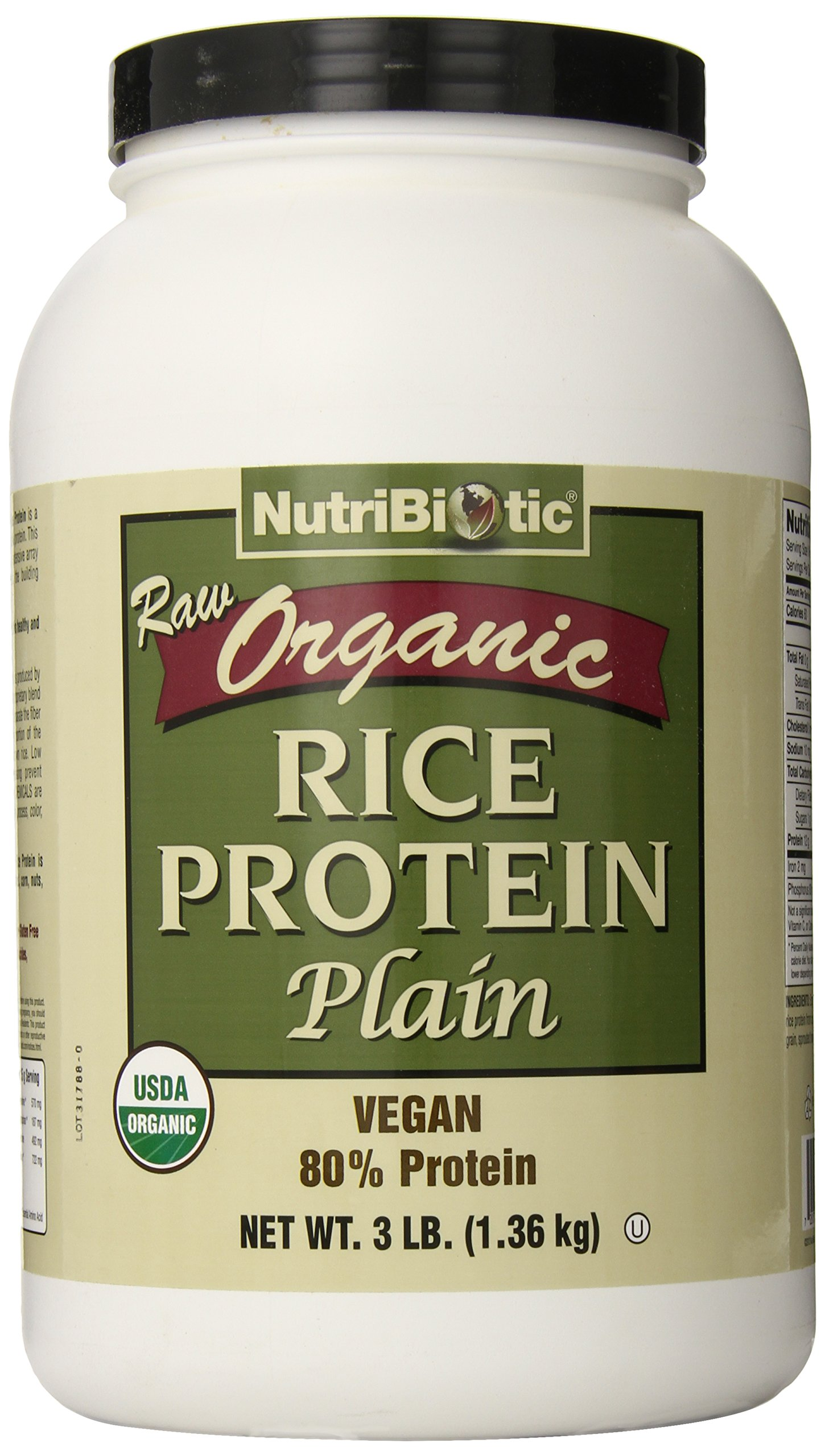 Nutribiotic Organic Rice Protein, Plain, 3 Pound by Nutribiotic