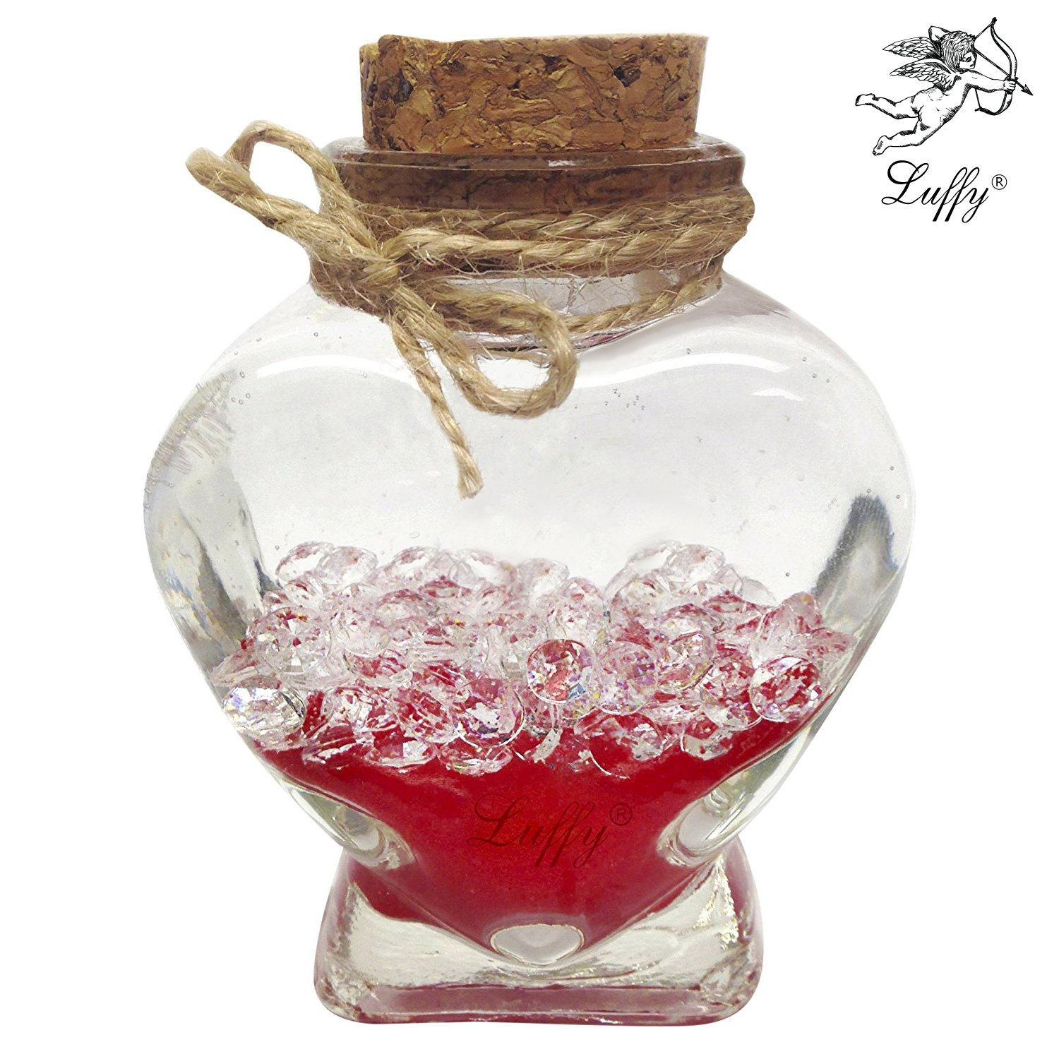 LUFFY Nano Marimo Jar - Clear Heart shaped Glass Bottle with Cork Stopper - Perfect for Aromatherapy Oils, Party Favors, Spices, Bath Bubbles and DIY Projects