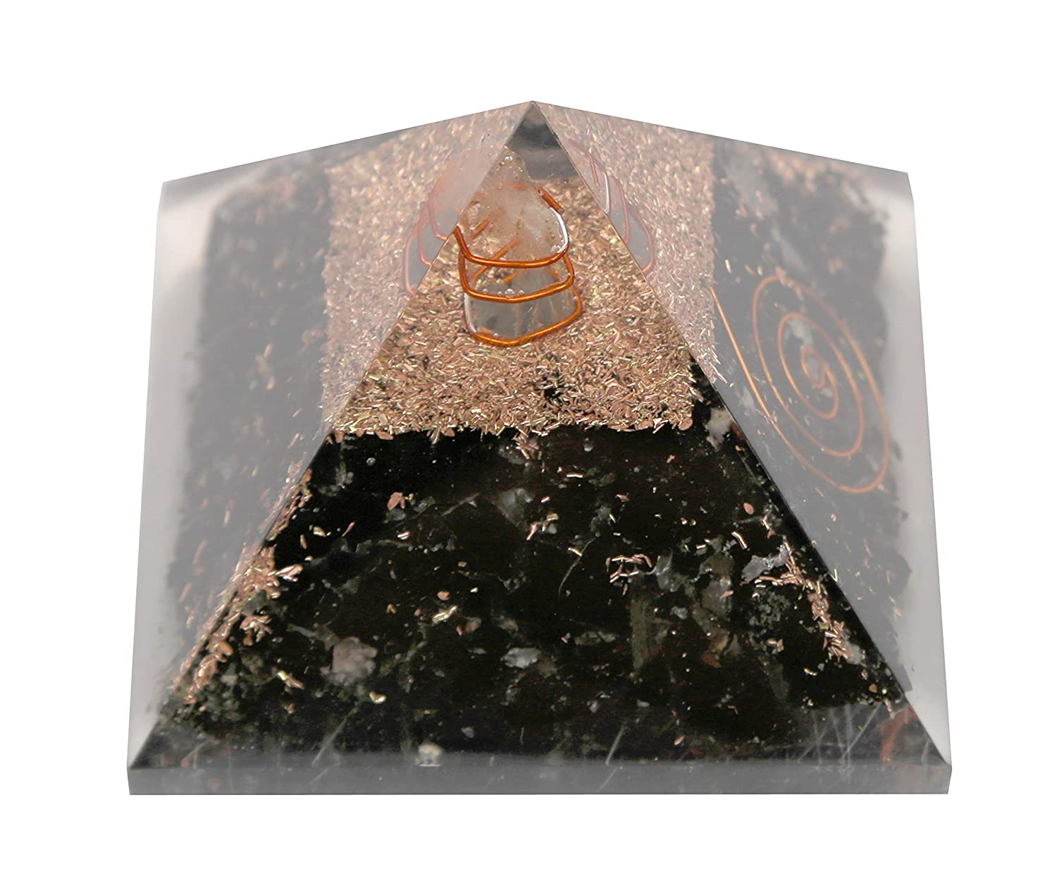 Aatm Healing Gemstone Black Tourmaline Flat Orgone Stone for Positivity and Gift