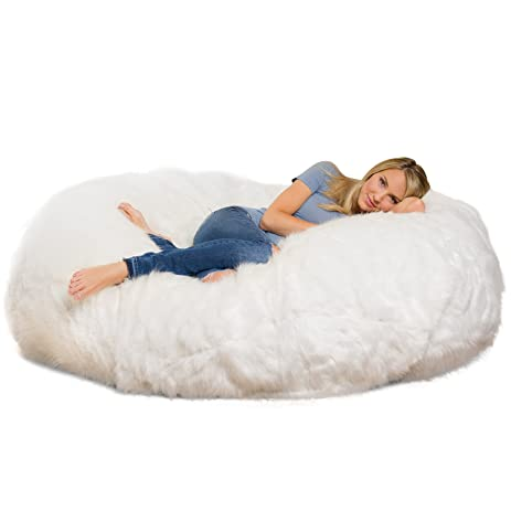 Comfy Sacks 6 Ft Lounger Memory Foam Bean Bag Chair White Furry