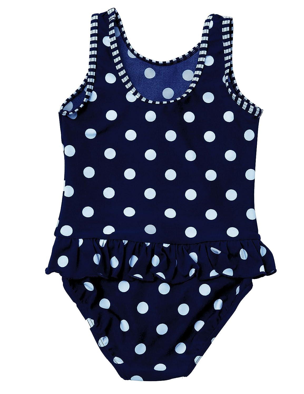 Little Girl Swimwear, Baby Girls Swimsuit Cute Polka Dots One Piece Swimdress Swimming Costume Navy Blue 1-3 Years Old
