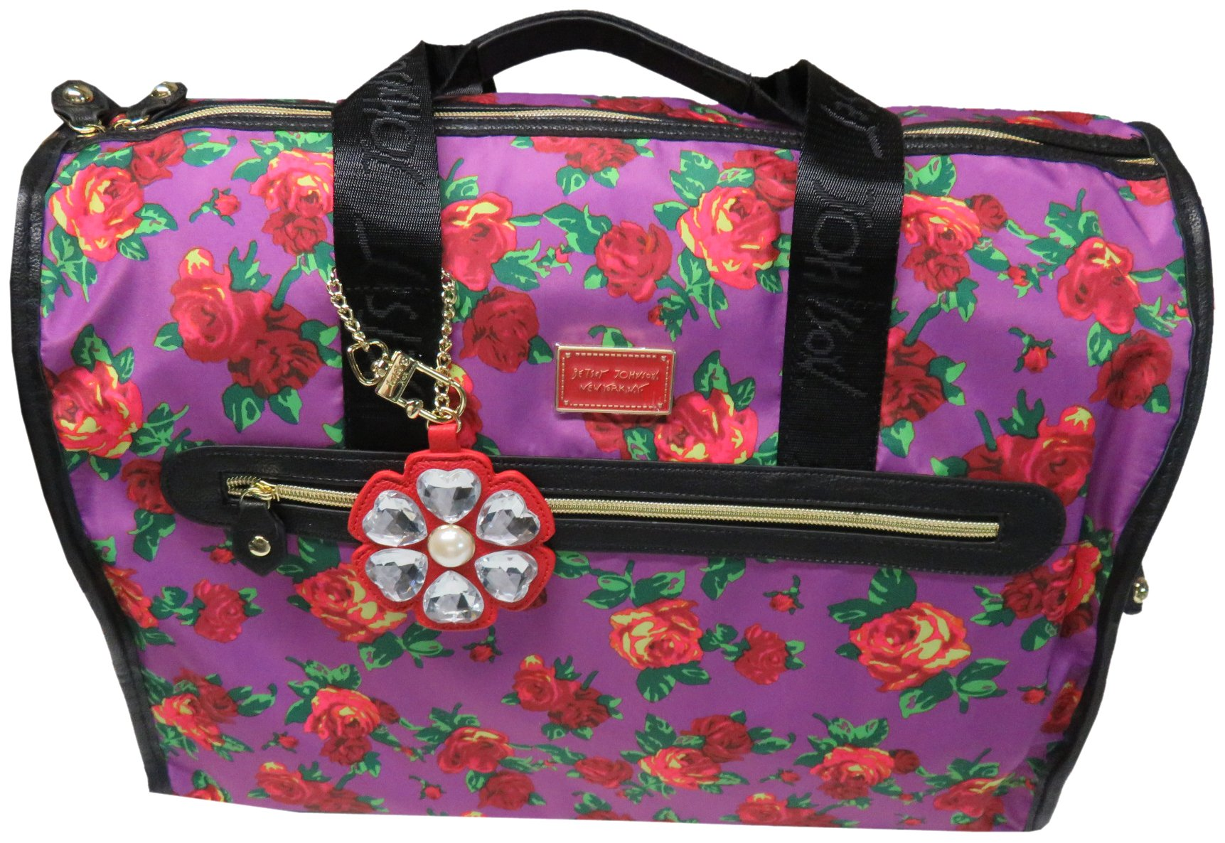 Betsey Johnson Large Nylon Weekender Duffel Bag, Floral/Purple&Red Roses