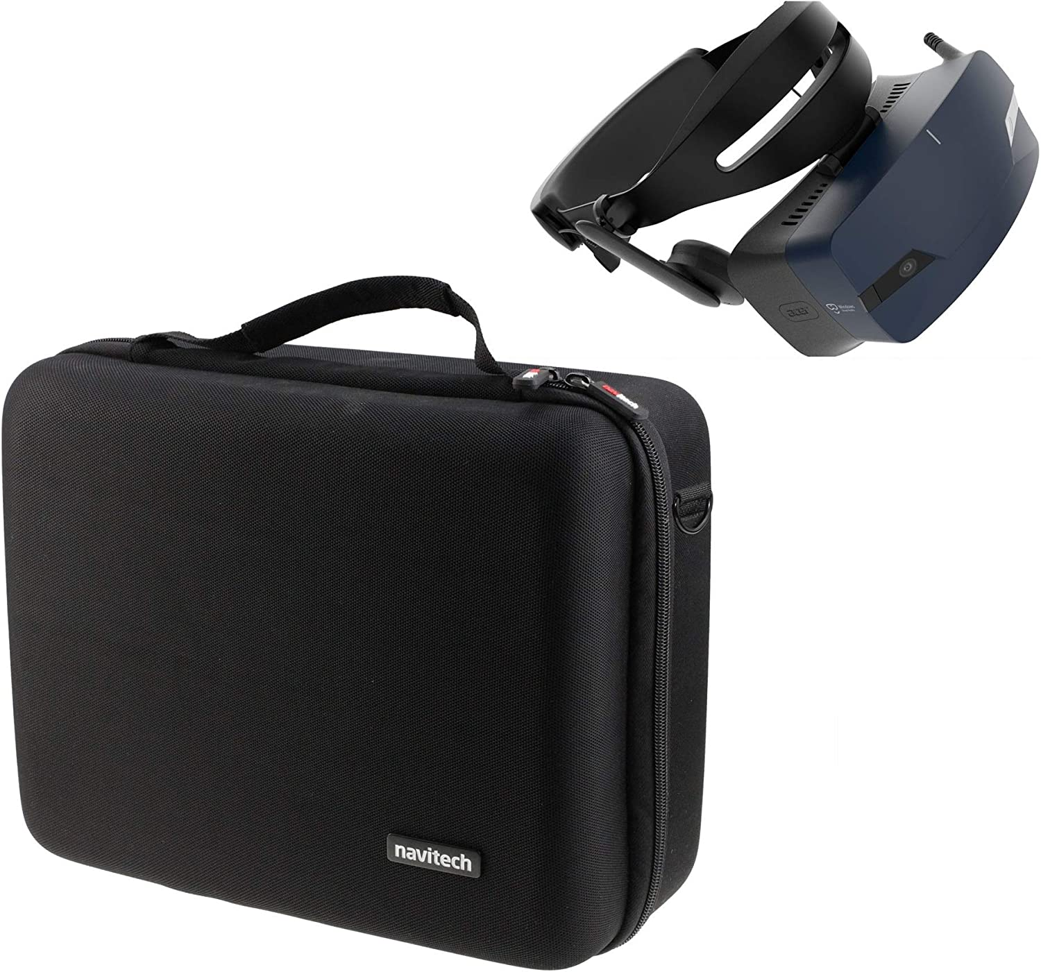 Navitech Black Heavy Duty Rugged Hard Case/Cover with Shoulder Strap Compatible with The Acer OJO 500 Windows Mixed Reality/VR Headset