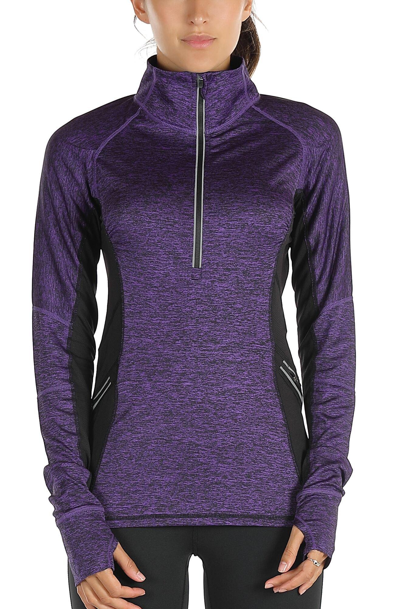 icyzone Women's Workout Yoga Track Jacket 1/2 Zip Long Sleeve Running Shirt (M, Purple)