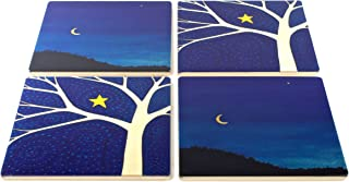 product image for September Crescent Moon and Starry Tree Coasters - Original Paintings By Christi Sobel - Set of 4 Wooden Coasters