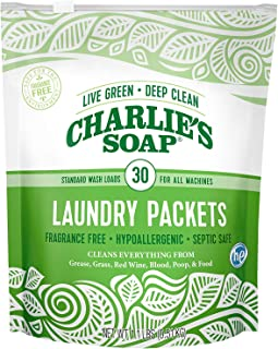 product image for Charlie's Soap – Fragrance Free Powdered Laundry Detergent Packets – 30 Pods (1 Pack)…