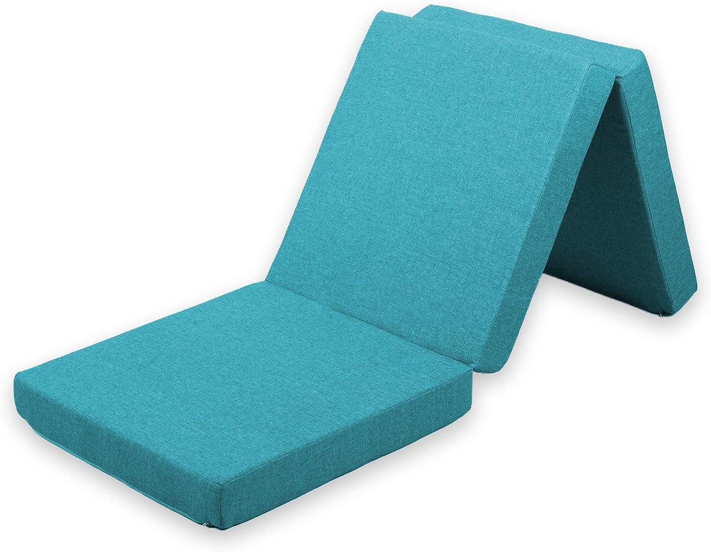 gutekissen Colchón Plegable de Invitado, para Cuna de Viaje, futón, 3MAT (Colchón 195x65x5, Saw Azul Celeste)