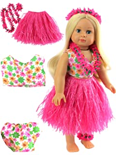 "Hot Pink Hawaiian Luau Outfit Fits Wellie Wishers 14.5/"" American Girl Clothes"