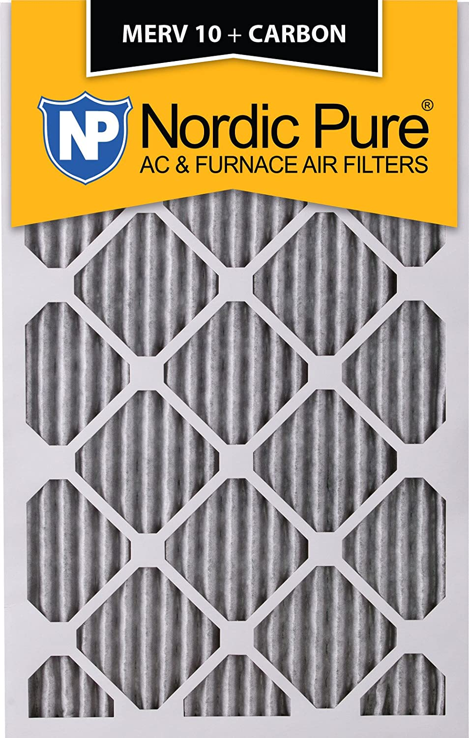 3 Pack 14 x 20 x 1 Nordic Pure 14x20x1 MERV 10 Pleated Plus Carbon AC Furnace Air Filters 3 Piece 3 Pack 14 x 20 x 1