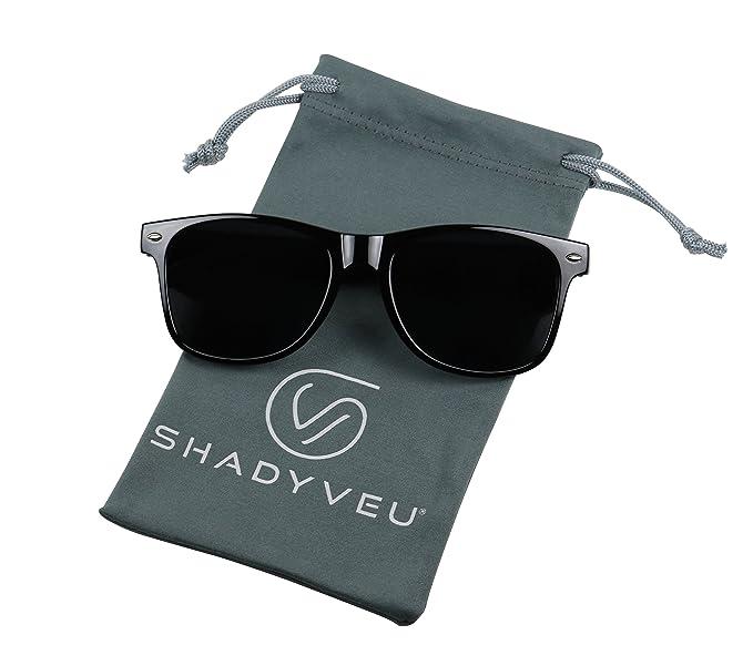 cfcaa7380b Amazon.com  ShadyVEU - Exclusive Super Dark Lens Retro 80 s Spring Hinge  Round Sunglasses (Glossy Black