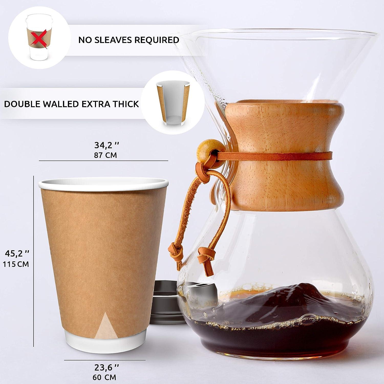 CupCup 100 Bicchieri di Carta Kraft da 360 ml con Coperchi e Agitatori in Legno per Servire Caff/è Bevande Calde e Fredde T/è