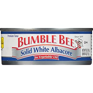 BUMBLE BEE Solid White Albacore Tuna in Vegetable Oil, Canned Tuna Fish, High Protein Food, Wild Caught, 5 Ounce Can (Pack of 24)