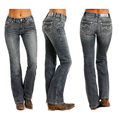 41072758915 Amazon.com  Rock   Roll Cowgirl Women s and Mid-Rise Boot Cut Jeans ...