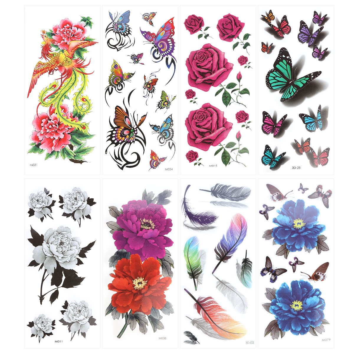 ROSENICE Temporary Tattoo 8 Sheets Tattoo Supplies Long Lasting for Women