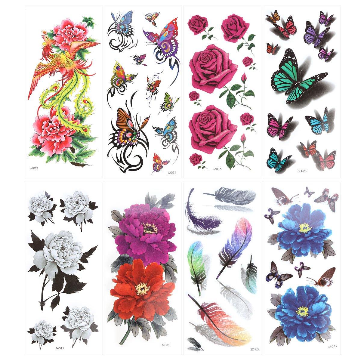 ROSENICE Tatuaje temporal 8 hojas mariposa tatuaje proporciona larga duración para las mujeres