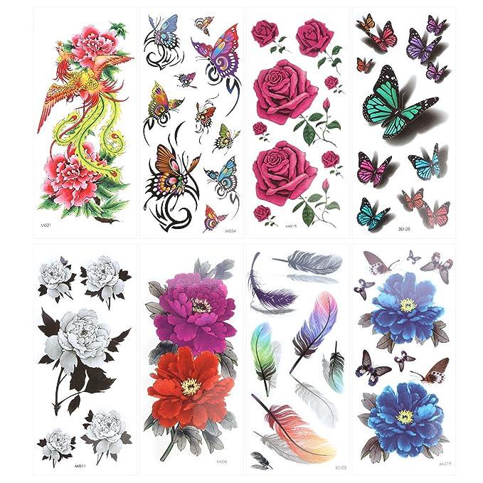 ULTNICE - Pegatinas de tatuajes temporales (8 hojas): Amazon.es ...