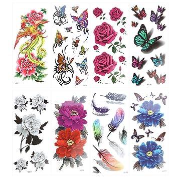 ROSENICE Tatuaje temporal 8 hojas mariposa tatuaje proporciona ...