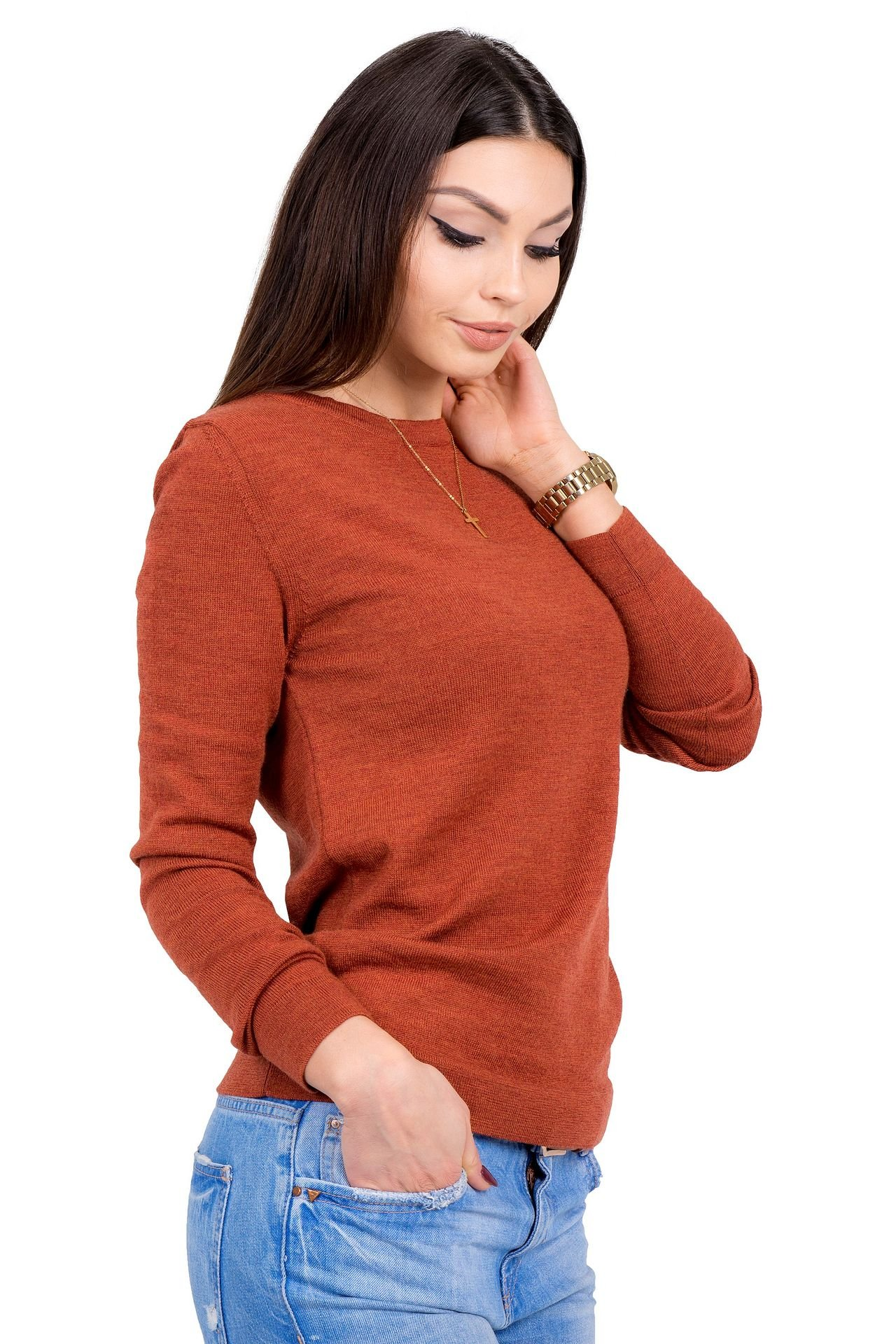 Women's Pure Merino Wool Classic Knit Top Lightweight Crew Neck Sweater Long Sleeve Pullover (X-Large, Orange) by KNITTONS (Image #2)