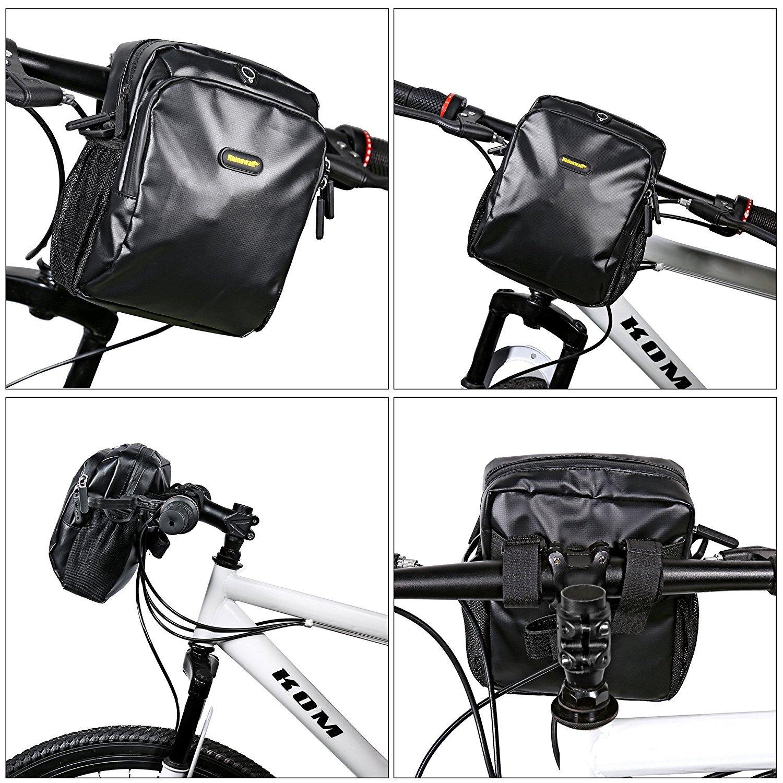 Selighting Bolsa de Manillar Bicicleta para MTB CTB Bolsa Delantera para Ciclismo con Cubierta de Lluvia y Correa Ajuatable de Hombro Bolsa de Bicicleta Monta/ña Carretera Bicicleta Plegable