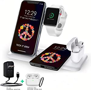 TWIXITECH Wireless Charger 4 in 1 Charging Station for Apple products, iPhone,Apple Watch,Airpods+Android,iPhone Charging Pad-15W Qi Fast Charging-BONUS-Boost Up 9V/3A Adaptor+Airpods Pro Cover(WHITE)