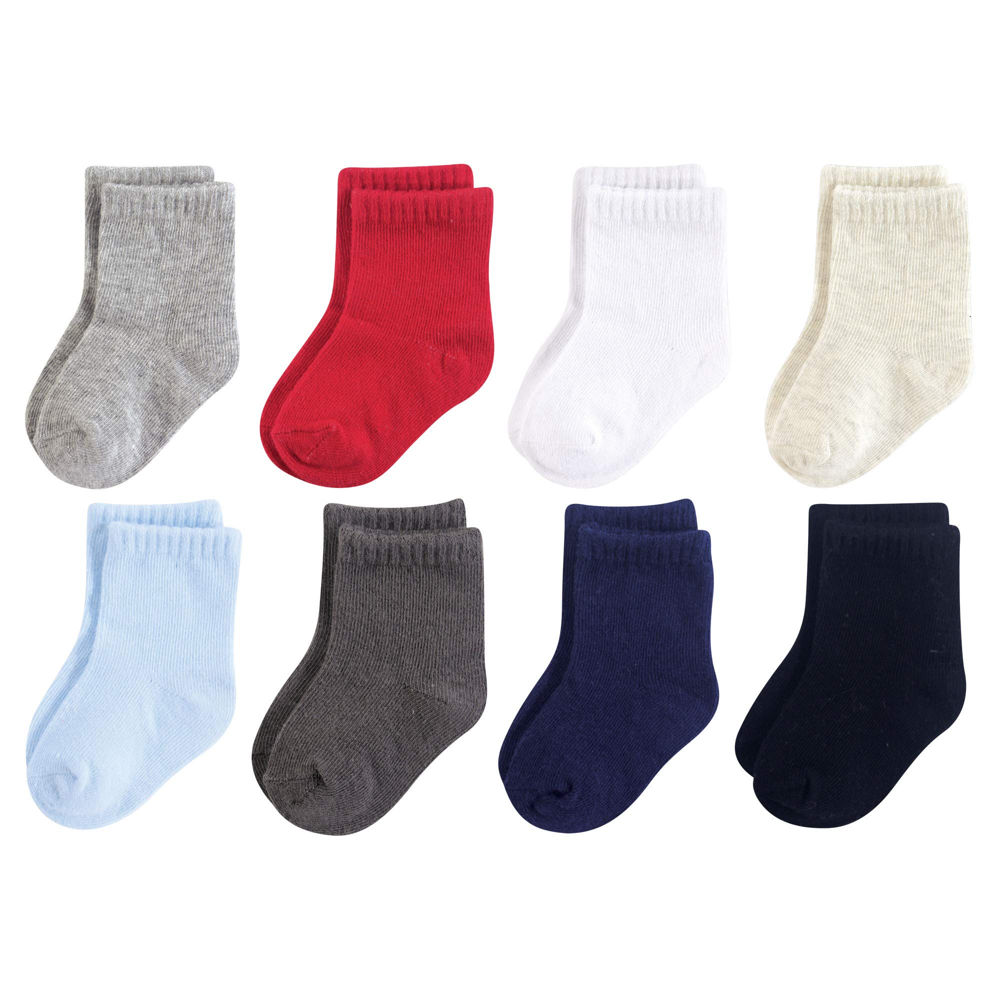 Luvable Friends Baby Basic Socks, Blue And Gray