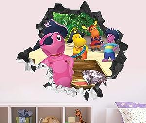 """Backyardigans Wall Decal Sticker - Kids Wall Decal Decor - Art 3D Vinyl Wall Decal - GS31 (Small (Wide 22"""" x 16"""" Height))"""
