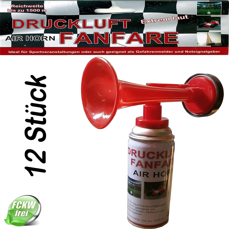 Leonado Vicenti Air Horn Druckluftfanfare extrem laut, Ideal für Sportveranstaltungen oder als Notsignal, Tonreichweite bis zu 1500 Metern, Menge:12 Stück Menge:12 Stück