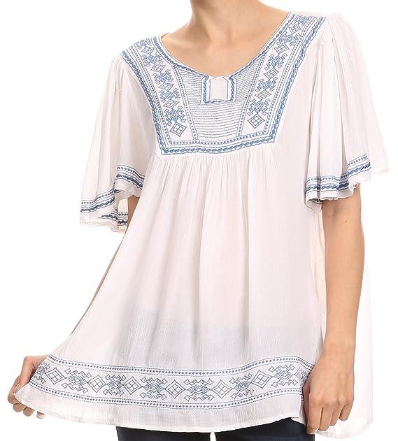 Sakkas VT203 - Benyana manga corta tribal azteca bordado batik túnica de la blusa top de