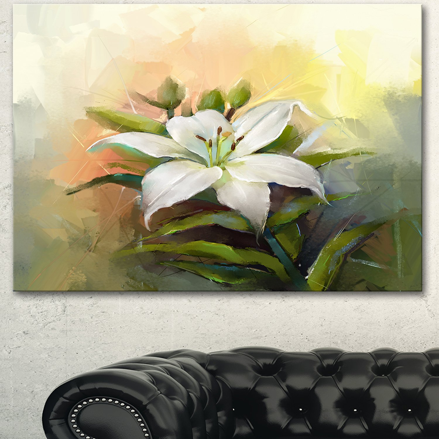 Amazon White Lily Flower Oil Painting Large Floral On Canvas