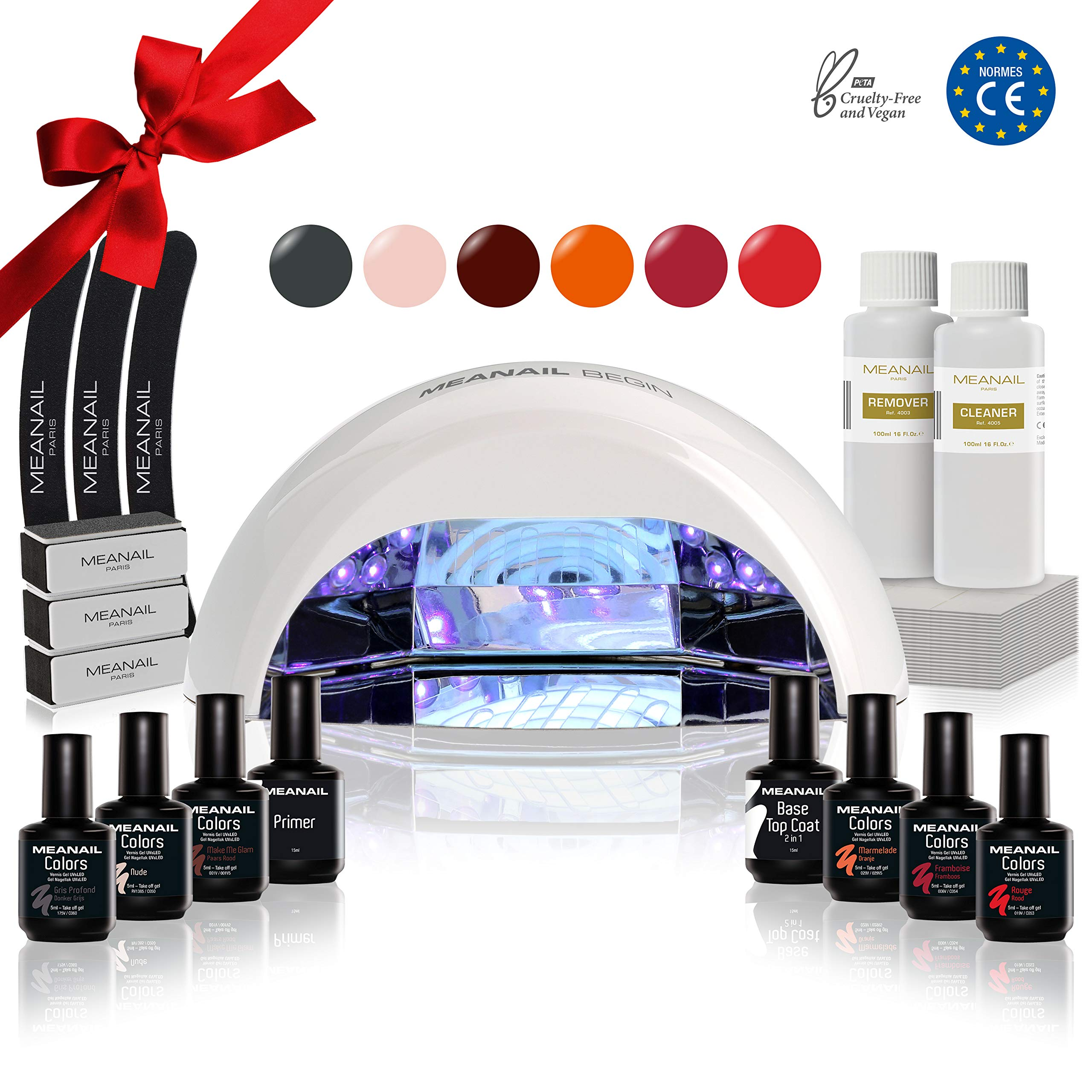KIT MANUCURE VERNIS SEMI PERMANENT • KIT PROFESSIONNEL BEGIN SÉCHAGE 30s • Lampe UV/LED 18W Vernis Gel Polish Base Top Coat Primer Accessoires Manucure Pédicure Semipermanente Vegan Cruelty Free product image