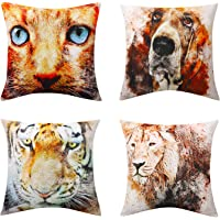"Lewondr Linen Throw Pillow Case, Set of 4 Soft Breathable Wrinkle-resistant Pillowcase with Colorful Printed Pattern Decorative Cushion Cover Sham for Sofa Bed Seat 18""x18""(45x45cm)"