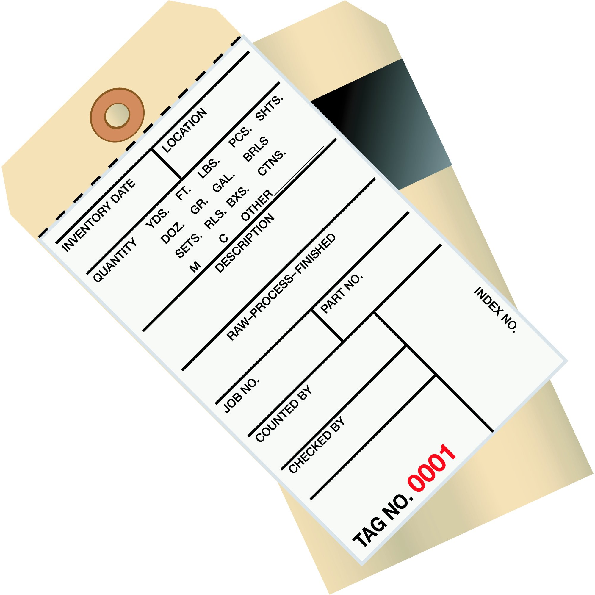BOX USA BG17031 Inventory Tags, 2 Part Carbon Style #8, (1000-1499), 6 1/4'' x 3 1/8'', Manila (Pack of 500)